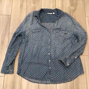 NY&Co polka dot button down shirt XL